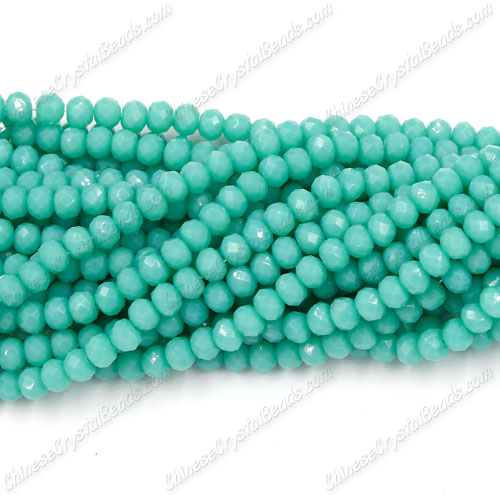 Chinese Crystal Rondelle Bead Strand,opaque Turquoise 3, 3x4mm , about 150  beads