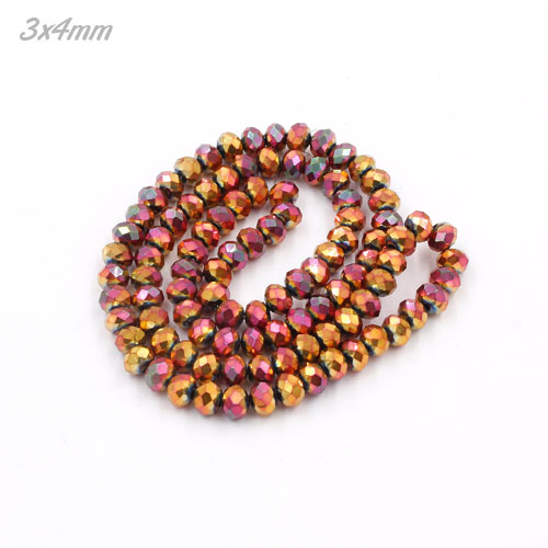 3x4mm new red rainbow color Crystal Rondelle Beads Strand, about 145 beads