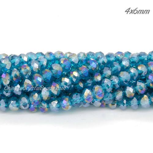 Chinese Crystal Rondelle Bead Strand, capri blue AB, 4x6mm . about 100 beads