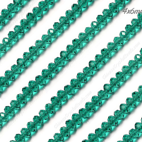 Chinese Crystal Rondelle Bead Strand, Emerald, 4x6mm . about 100 beads