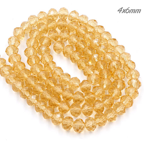 4x6mm Chinese Crystal Rondelle Beads Strand, G.champagne, about 100 beads