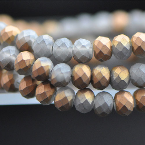 Chinese Crystal Rondelle Bead Strand, Metallic Copper Matte, 4x6mm , about 100 beads