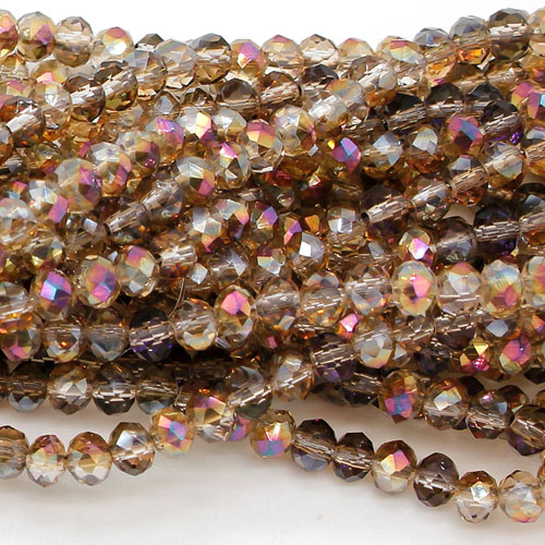 4x6mm Rondelle Crystal beads, amber and purple light, about 98beads
