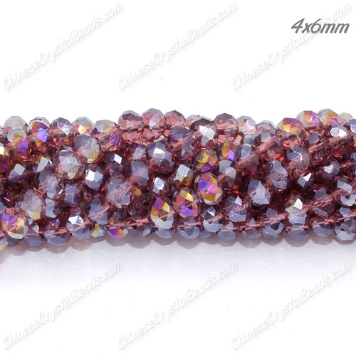 4x6mm Chinese Crystal Rondelle Beads Strand, Amethyst AB, about 100 beads