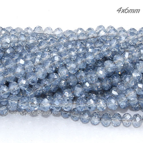 4x6mm Chinese Crystal Rondelle Beads, blue gray light, about 98Pcs