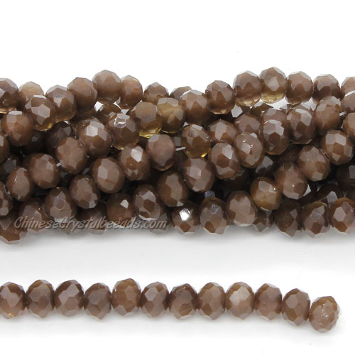 Crystal Rondelle Bead Strand, coffee jade, 4 x 6mm, about 100 beads