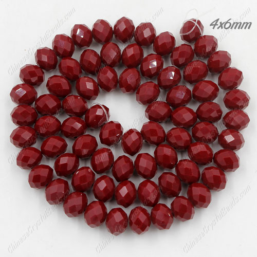 Chinese Crystal Rondelle Bead Strand, Dark Red Velvet, 4x6mm , about 100 beads