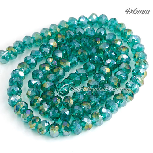 98Pcs Crystal Rondelle Beads, Emerald AB