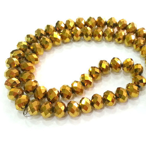 Chinese Crystal Rondelle Beads Strand, 4x6mm, Gold , about 100 beads
