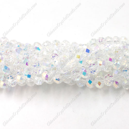 Chinese Crystal Rondelle Bead Strand, Half Clear AB, 4x6mm ,about 100 beads