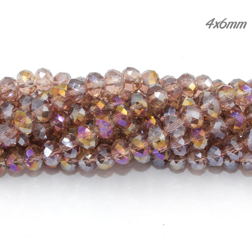 Crystal Rondelle Long Bead Strand, light Amethyst AB, 4x6mm,about 100 beads