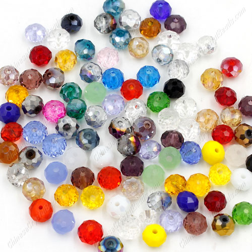 Chinese Crystal Rondelle Loose Beads, 4x6mm, Multi, about 100 beads