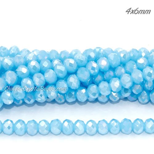 Chinese Crystal 4x6mm Rondelle Bead Strand, opaque Aqua AB, about 100 beads