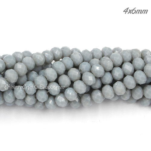 Chinese Crystal Rondelle Strand, opaque gray, 4x6mm, about 100 beads