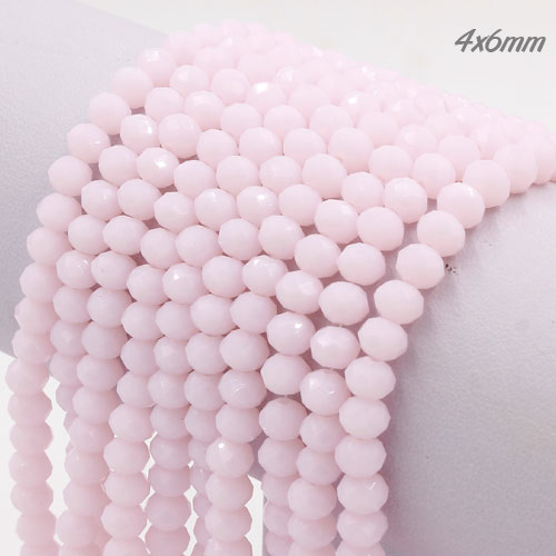 4x6mm Chinese Crystal Rondelle Beads Strand, opaque pink, about 100 beads