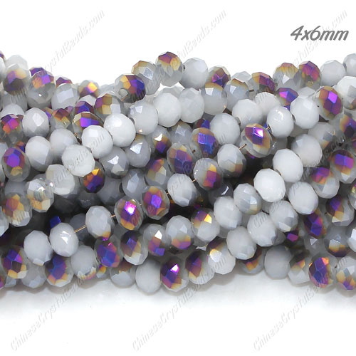 Chinese Crystal Long Rondelle Bead Strand,white jade and half purple light, 4x6mm , about 100 beads