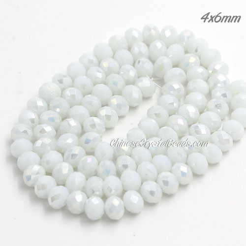 Chinese Crystal Long Rondelle Bead Strand, White Linen AB, 4x6mm , about 100 beads