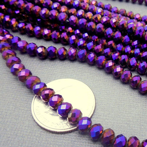Chinese Crystal Rondelle Strand, purple light, 4x6mm , about 100 beads