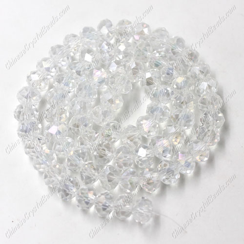Chinese Crystal Rondelle Bead Strand, Clear AB, 4x6mm , about 100 beads