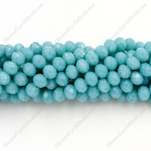 Chinese Crystal Long Rondelle Bead Strand, Opaque turquoise, 4x6 ,about 100 beads