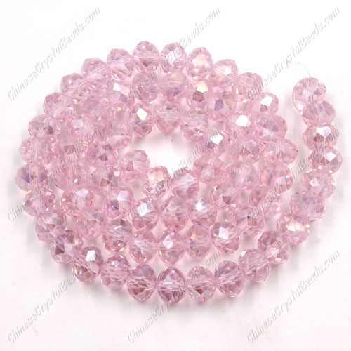 Crystal Rondelle Bead Strand, Lt. Pink AB, 4x6mm ,about 100 beads