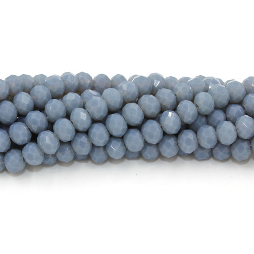 Chinese Crystal Rondelle Bead Strand, opaque dark gray, 4x6mm . about 100 beads