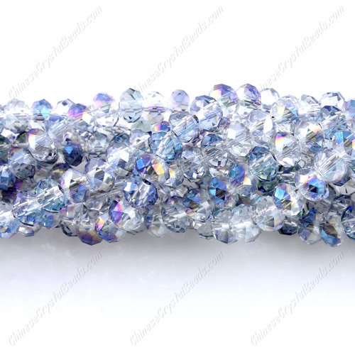 Chinese Crystal 4x6mm Rondelle Bead Strand, half blue light, about 100 beads