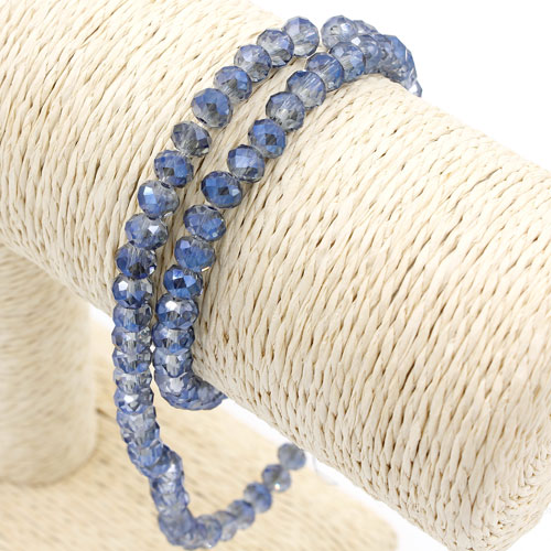 Chinese Crystal Long Rondelle Strand, 4x6mm, Magic Blue , about 100  beads