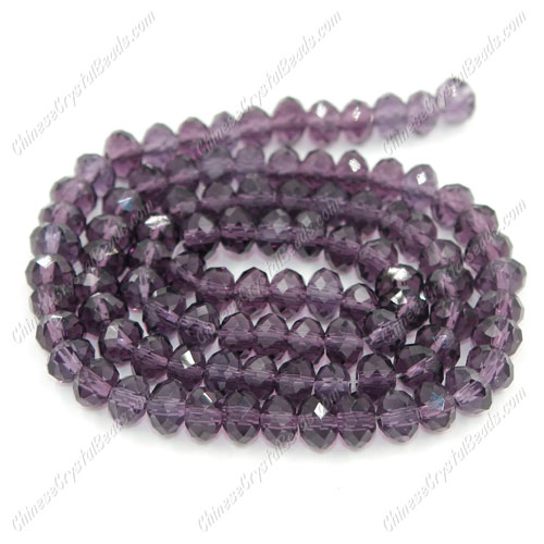 Chinese Crystal Long Rondelle Strand, 4x6mm, Violet, about 100 beads