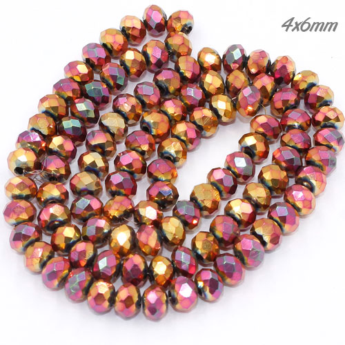 4x6mm new red rainbow color Crystal Rondelle Beads Strand, about 100 beads