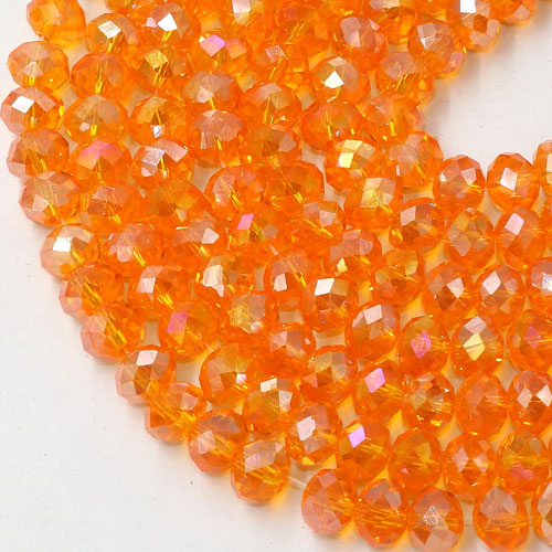Chinese Crystal Rondelle Beads, orange AB, 6x8mm , about 72 beads