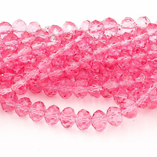6x8mm rondelle crystal beads, paint rose color, 70 beads