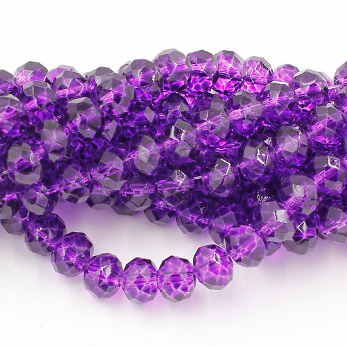 6x8mm rondelle crystal beads, paint violet color, 70 beads