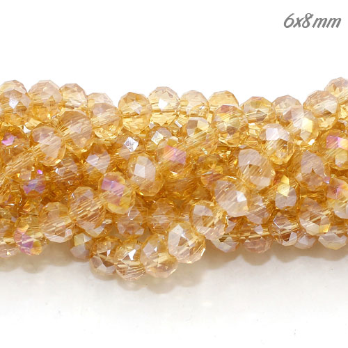 6x8mm Chinese Crystal Rondelle Strand, G.champagne AB, about 72 beads