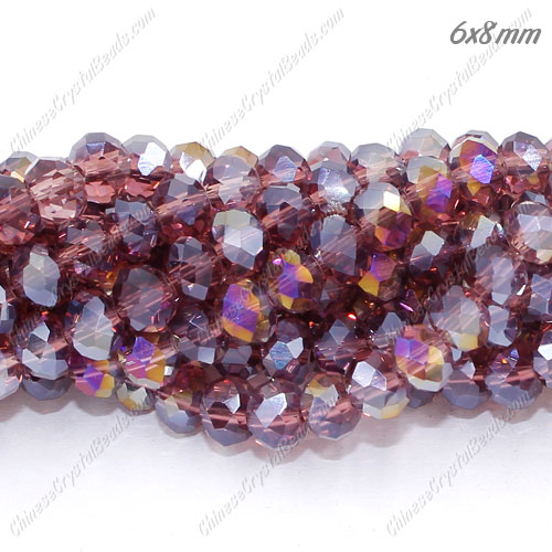 6x8mm Chinese Crystal Beads, Amethyst AB, about 70 beads