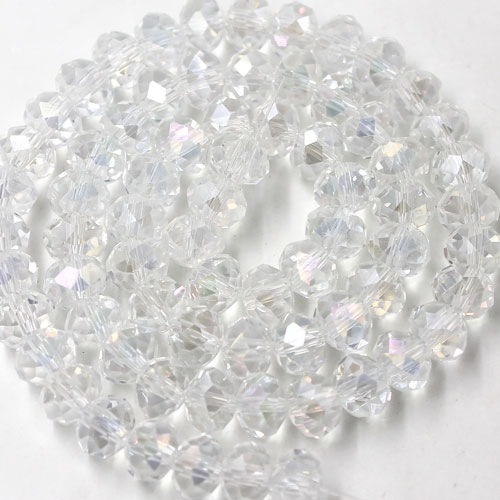 Chinese Crystal Long Bead Strand, Clear AB, 6x8mm ,about 72 beads