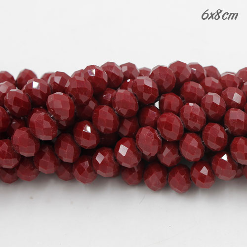 Chinese Crystal Rondelle Strand, dark Red Velvet, 6x8mm, about 72 beads