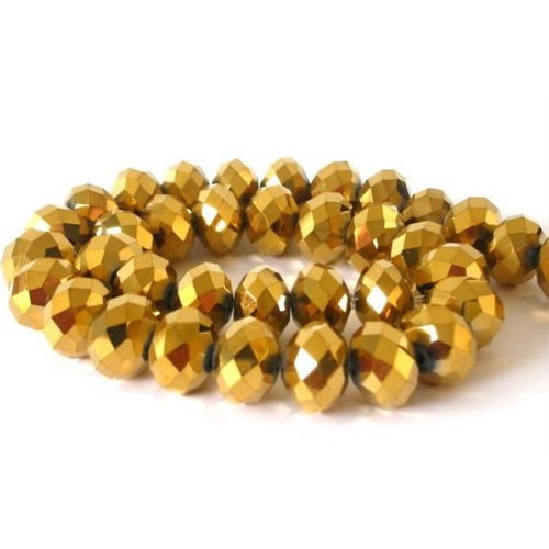 Chinese Crystal Rondelle Beads Strand, 6x8mm, Gold, about 72 beads