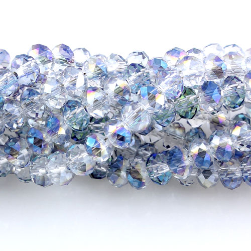 Chinese Crystal Rondelle Beads Strand, 6x8mm, half blue light, about 72 beads
