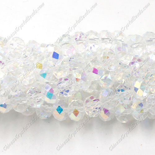 Chinese Crystal Long Bead Strand, Half Clear AB, 6x8mm ,about 72 beads