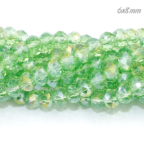 6x8mm Chinese Crystal Beads, lime green AB, about 70 beads