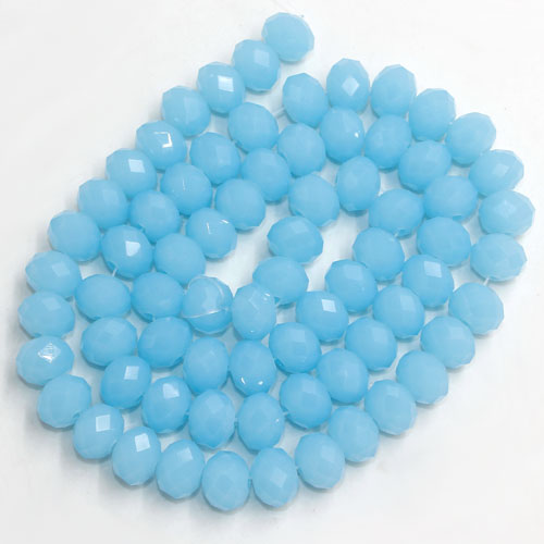 Chinese Crystal Rondelle Beads, 6x8mm, opaque aque, about 72 beads