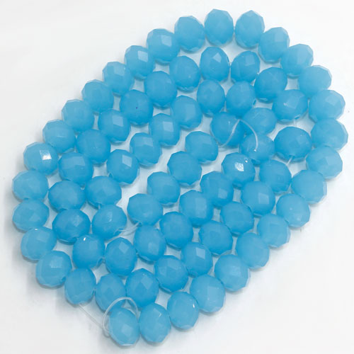 Chinese Crystal Rondelle Beads, 6x8mm, opaque dark aque, about 72 beads