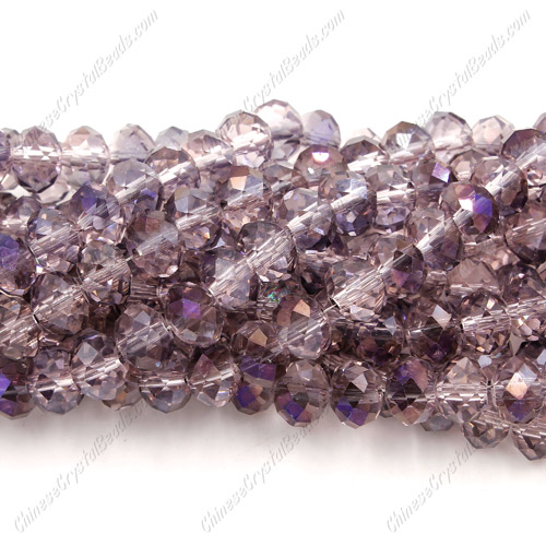 Chinese Crystal Rondelle Bead Strand, rosaline&purple light, 6x8mm , about 72 beads