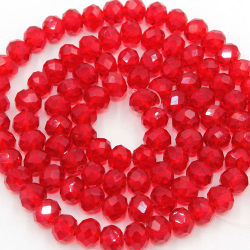 Chinese Crystal Rondelle Bead Strand, Siam, 6x8mm , about 72 beads