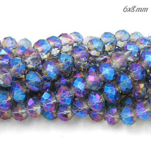 Chinese Crystal Long Rondelle Bead Strand, transparently blue light, 6x8mm ,about 72 beads