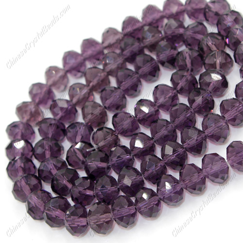 Chinese Crystal Rondelle Bead Strand, violet, 6x8mm , about 72 beads