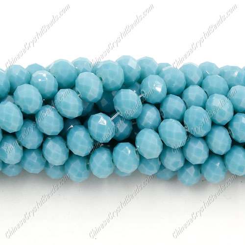 Chinese Crystal Bead Strand, Opaque turquoise, 6x8mm, about 72 beads