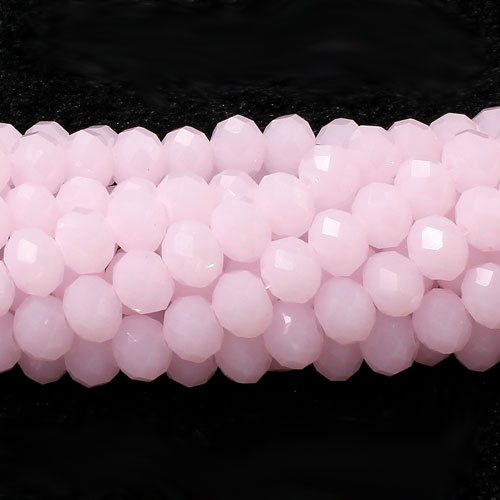 Chinese Crystal Faceted Rondelle Bead Strand, Pink jade, 6 x 8mm, about 72 beads