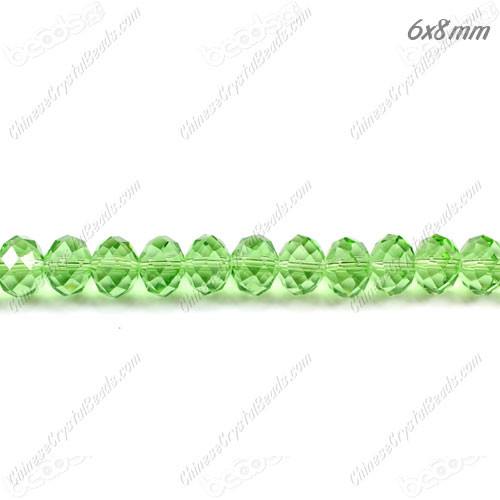 Chinese Crystal Bead Strand, lime green, 6x8mm, about 72 beads